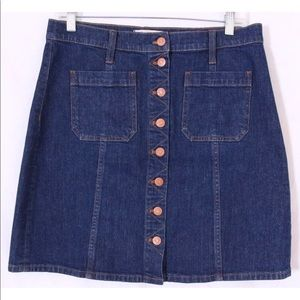 Madewell button front pocket denim skirt